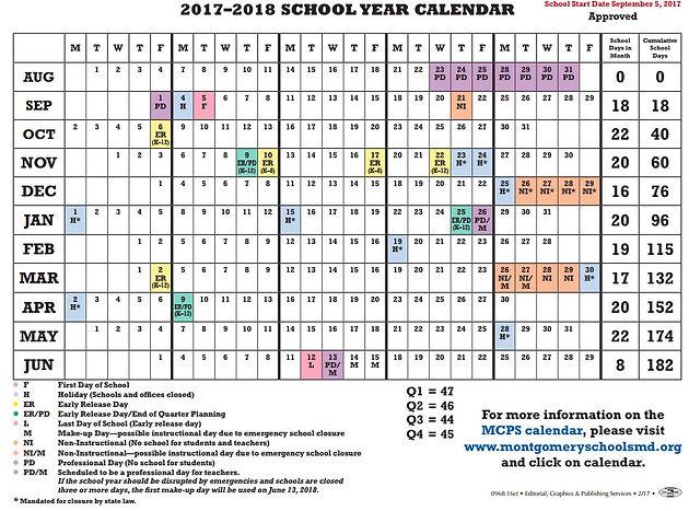 Board Of Ed Adopts Mcps Calendar School Starts Sept 5 2017