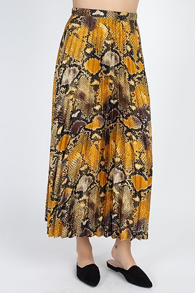 Snakeskin Pleated Skirt