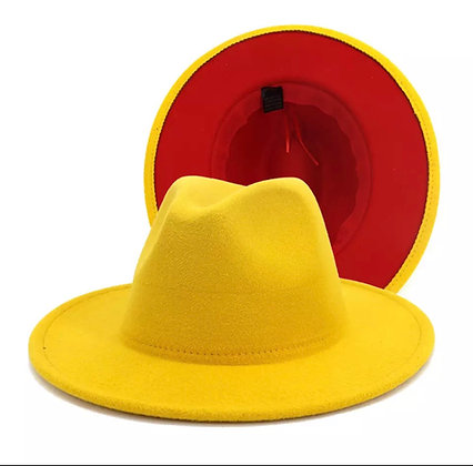 Canary yellow fedora w/red bottom
