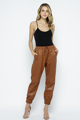 Soft Faux Leather Joggers