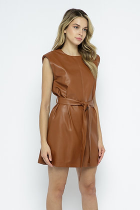 Soft Faux Leather Dress with belt