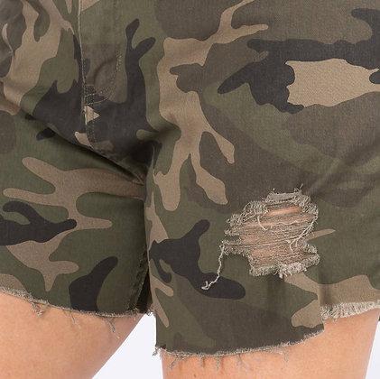 Camo Distressed Shorts