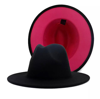 Black fedora with pink bottom