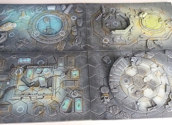 lot 4 plateaux de jeu médiéval fantastique peint