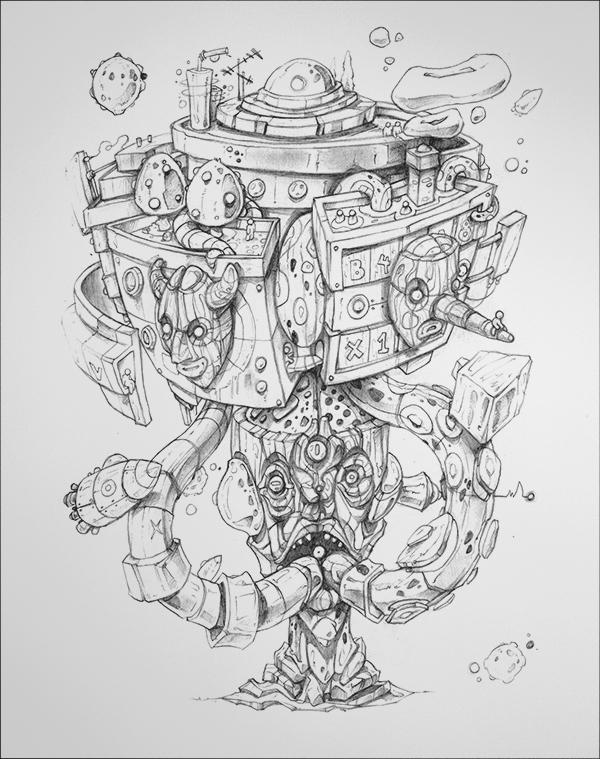 Fantasía de Robot dibujo