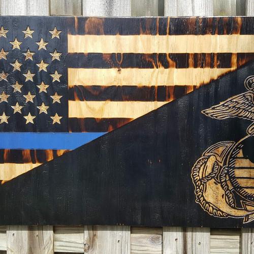 Woodburned USMC Thin Blue Line