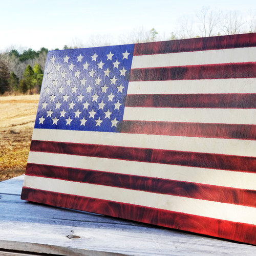Colored Stained American Flag