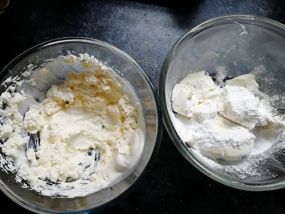 Making a coffee cheesecake