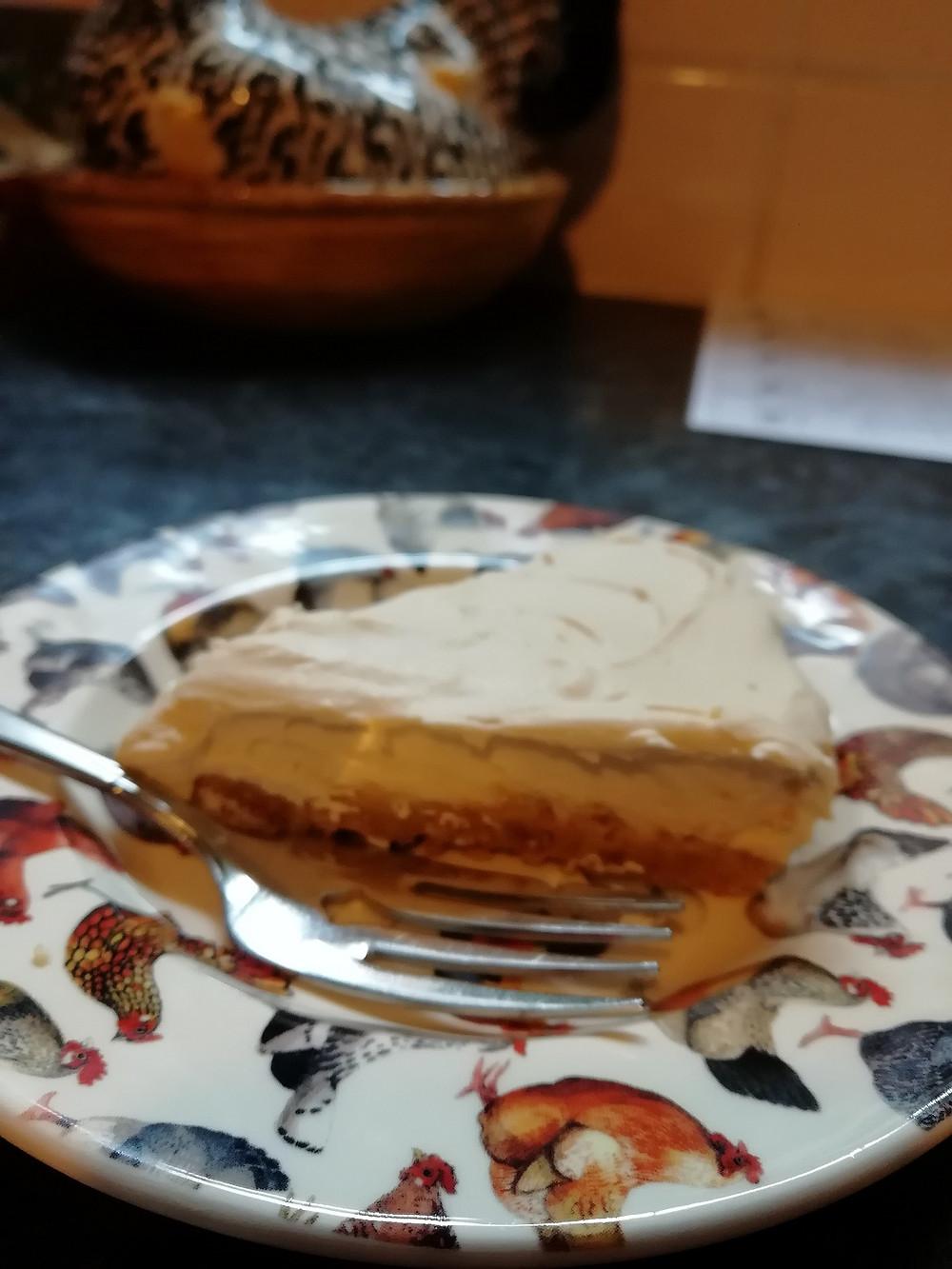 Slice of coffee cheesecake