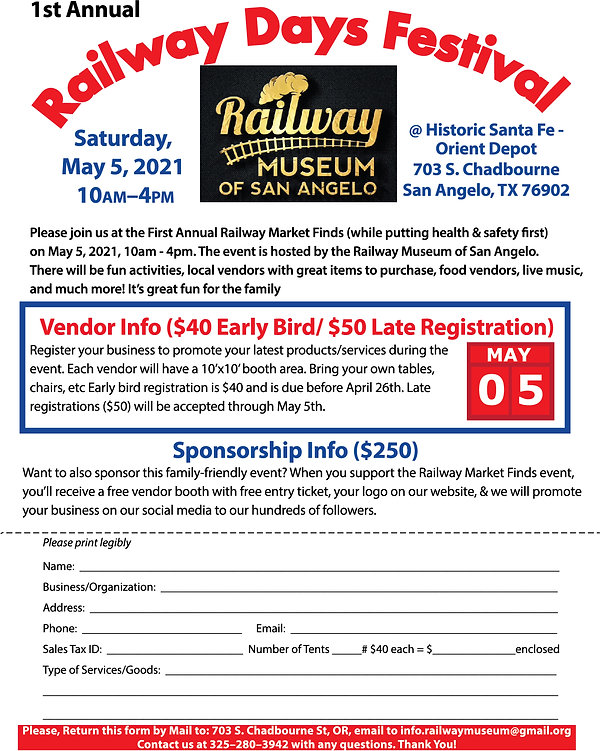 Railway Day Festival 2021 Vendor Flyer V