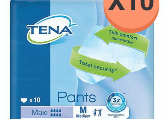Tena pants Maxi Medium - 10 paquets de 10 protections