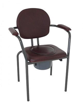 Chaise percée vinyle bordeaux (seau hygiénique inclus)