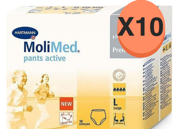 Hartmann molimed pants active Large - 10 paquets de 10 protections