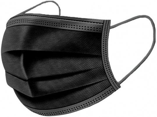 Masque de protection 3 plis noir / Boîte de 50 pièces
