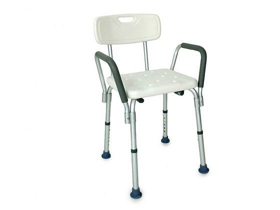Chaise de douche avec accoudoir amovible, réglable en hauteur