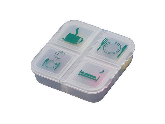 Pilulier journalier à 4 compartiments, transparent