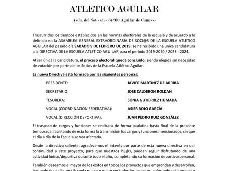 Nueva directiva Escuela de Fútbol C.D. Atlético Aguilar.