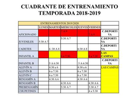 Horarios de entrenamientos para la temporada 2019/2020.