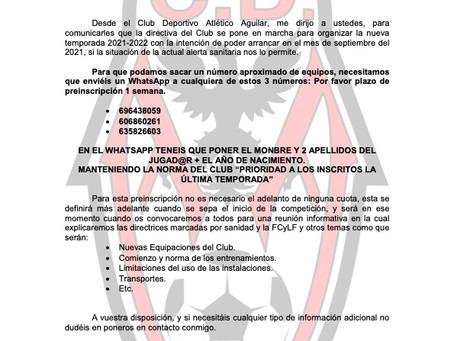 Preinscripción temporada 2021-2022.