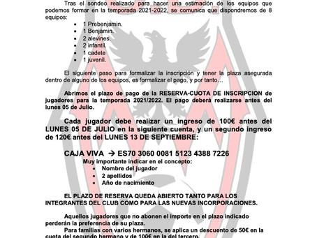 Pago reserva de plaza temporada 2021/2022.