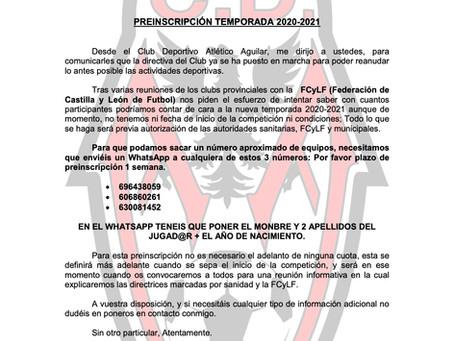 Abierto el plazo de preinscripción temporada 2020/2021.