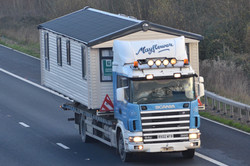 Mayflower Caravan Transport Ltd (RV02 WFB) Scania 94D-300 M5 Southbound, Sampford Peverell Fri 5-12-