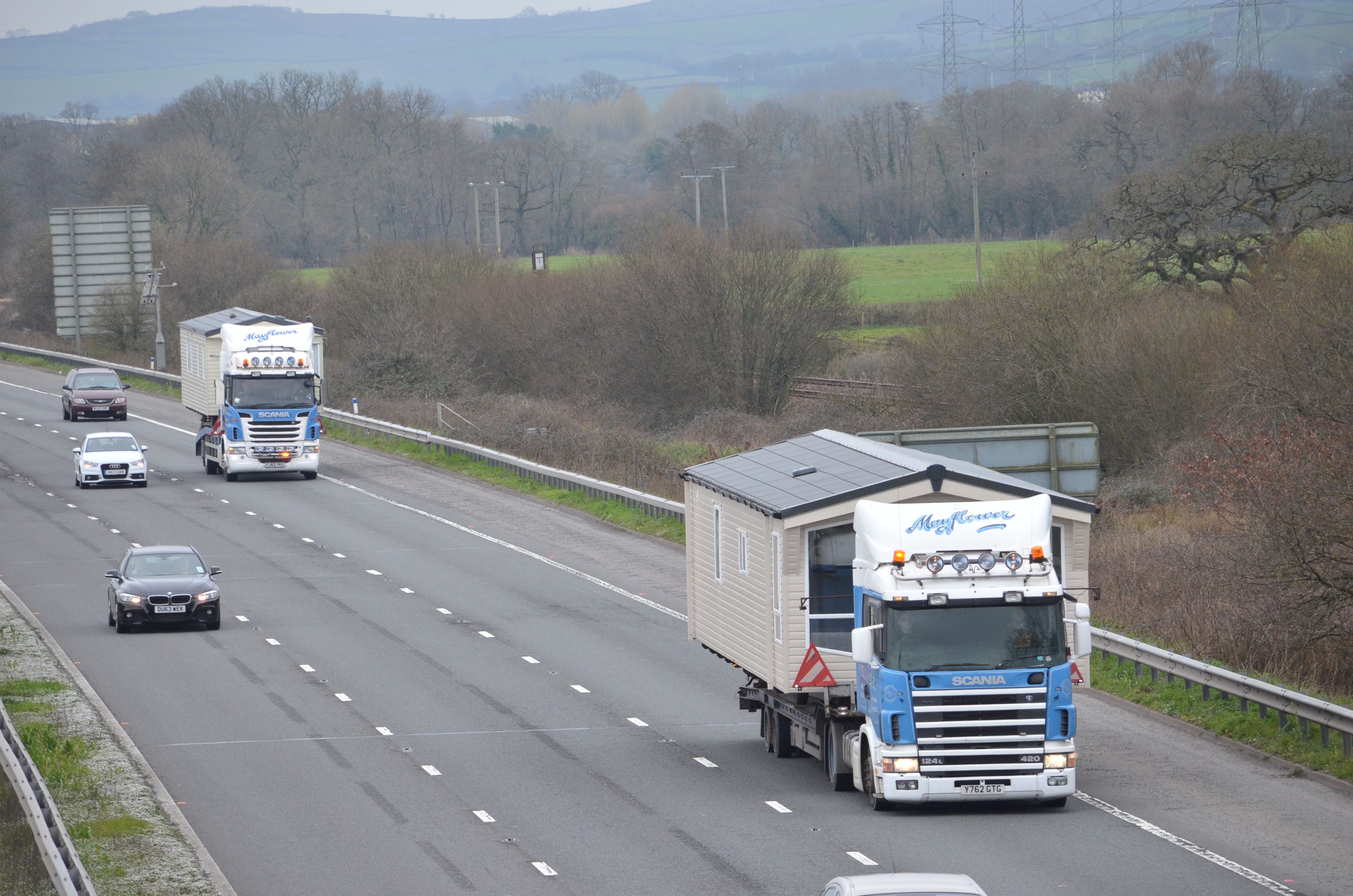 Mayflower Caravan Transport Ltd Scania Pair M5 Northbound, Sampford Peverell Mon 17-3-2014