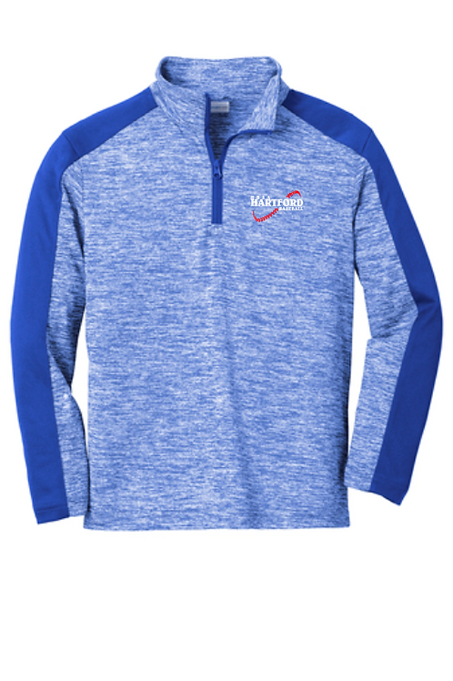 Youth Sport-Tek PosiCharge Electric Heather Colorblock 1/4-Zip Pullover
