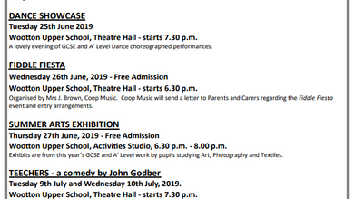 Arts Summer Term Events 2019