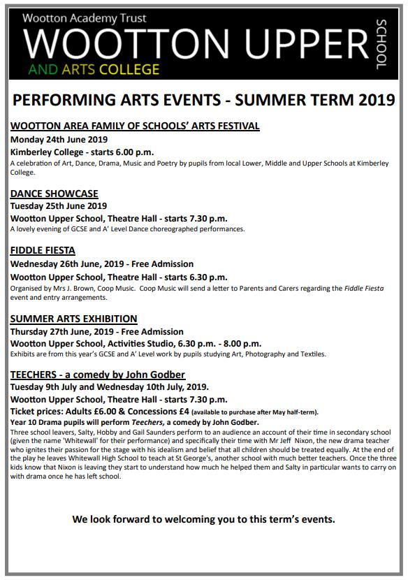Arts Summer Term Events 2019