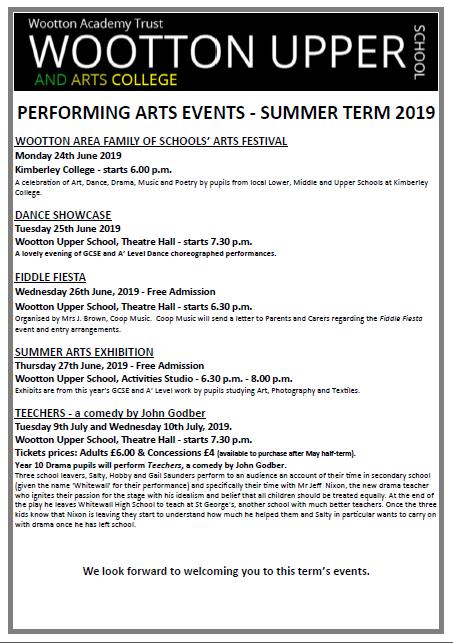 Arts Poster Summer Term 2019