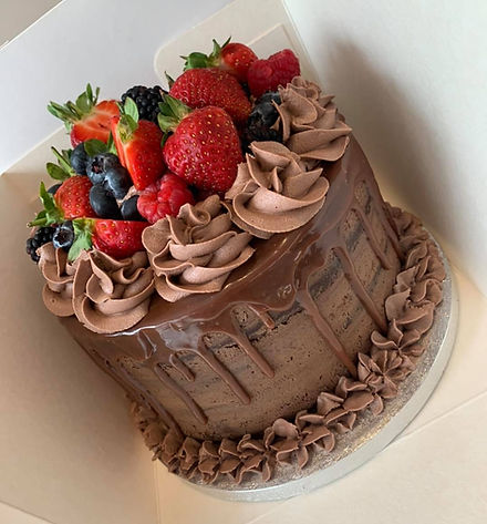 Chocolate Drip cake with Fresh Berries to top