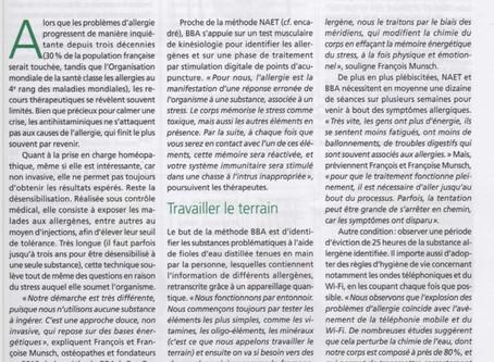 """""""BBA, un espoir pour les allergiques"""" Publication dans la revue Alternative Santé mars 201"""