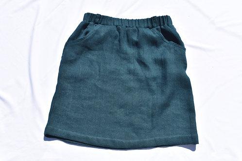 Petrol Leinen Wolle Jupe mit Taschen