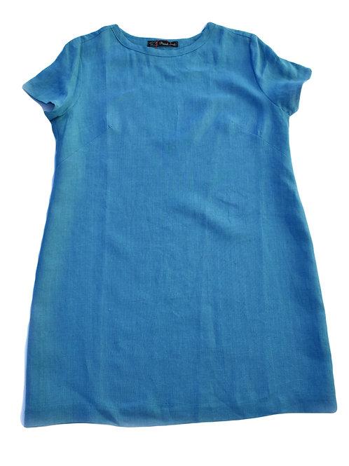 Längeres Shirt aus Leinen Türkis
