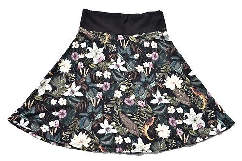 Jupe Halbkreismodell, Hauptfarbe schwarz mit floralem Muster