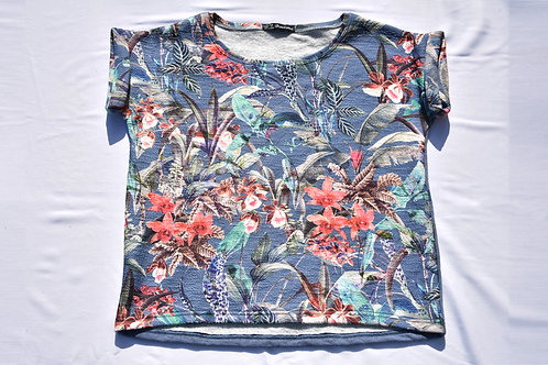T-Shirt Vorderteil Floral , Rückenteil Jeansblau
