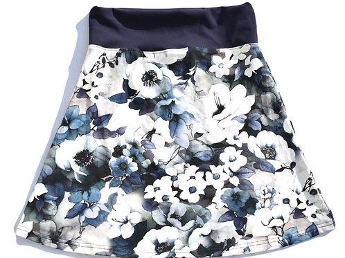 Jupe aus Baumwolljersey mit Blumen in blau/grau/schwarz Grösse 38