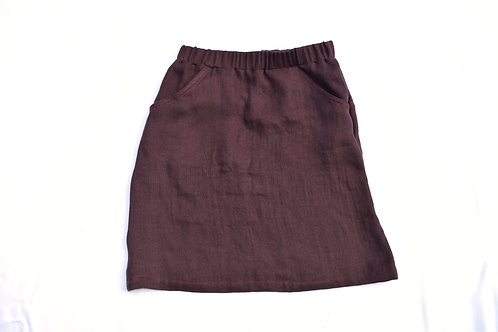 Oxblood (dunkles Rot/Bordeaux) Leinen Wolle Jupe mit Taschen