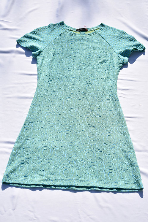 Türkises, schlichtes, tailliertes Kleid oder Oberteil aus Cloqué Jersey