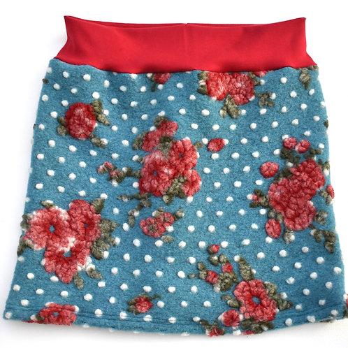 Jupe mit roten Blumen auf türkis mit wollweissen Punkten