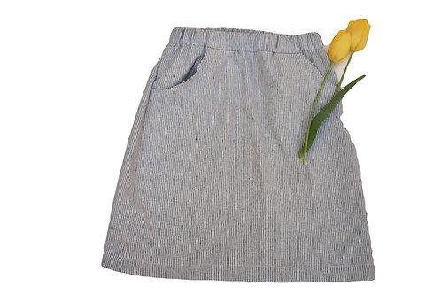 Leinen/Baumwolljupe gestreift  wollweiss/blau mit Taschen