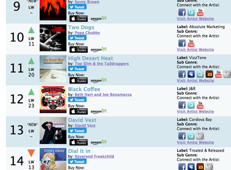 11 weeks in the RMR Charts USA.