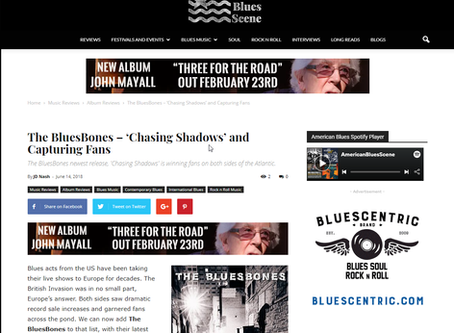"""American Blues Scene Article on """"Chasing Shadows""""."""