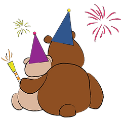 bears with fireworks illustration