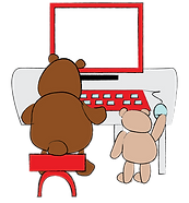 bears working at a computer