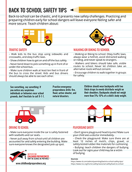 Back to school safety tips info-graphic