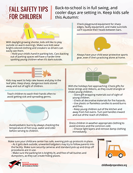 fall safety tips for children info-graphic