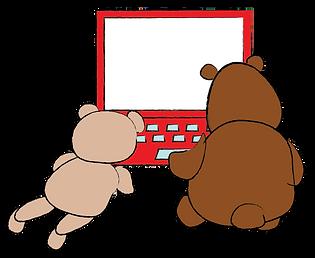 bears working at laptop