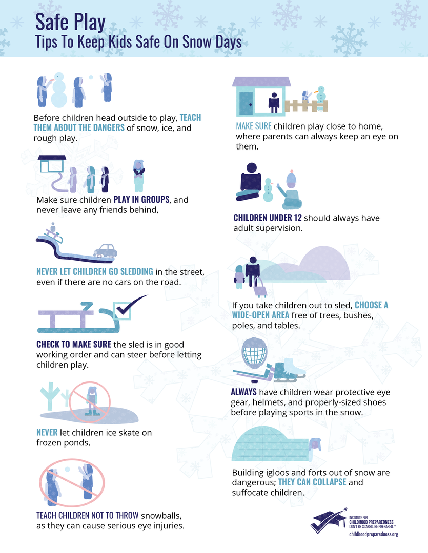 Safe Play safety for kids on snow days flyers